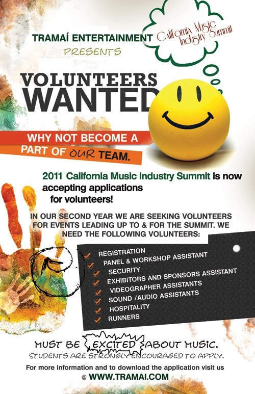 Cmis Volunteers Wanted California Music Industry Summit